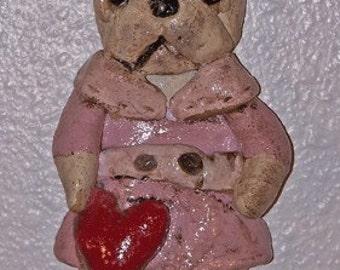 Folk Art Chic French Bulldog Doll Ornament with Heart
