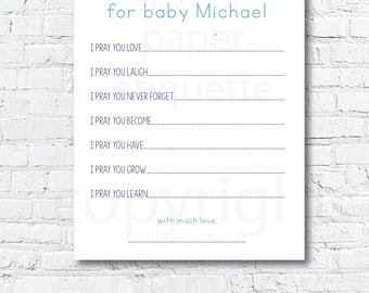 Custom Prayers for Baby, Boy Baby Shower Game, Prayers for Baby Shower Game,Sprinkle Game, Sip and See Prayers for Baby, Gender Reveal Party