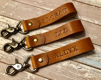 Personalized Leather Lanyard   Key Fob for Women   Key fob for Men   Personalized Key fob  Leather Key Fob  Custom Lanyard  Leather KeyChain