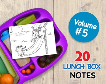 Vol 5 LUNCH BOX NOTES for Kids 20 Assorted Printable Cards Drawings Inspirational School Printables Art for Boys and Girls Lunchbox Letters