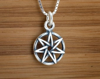 STERLING SILVER Small Fairy Star Heptagram My ORIGINAL Charm Necklace or Earrings -Chain Optional