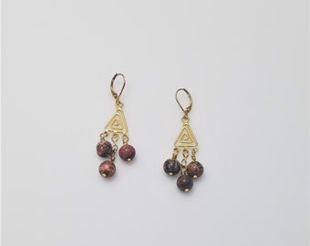 Red Jasper Beads on Gold Colored Spiral Triangle Chandelier Lever Back Earrings