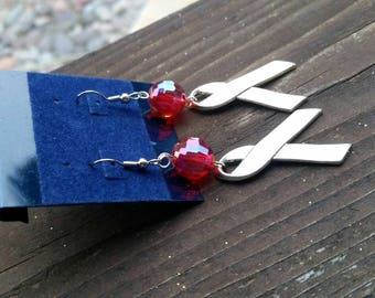 Pink and Silver Awareness Ribbon with Large faceted Pink AB Beads Fashion Earrings - 925 sterling silver