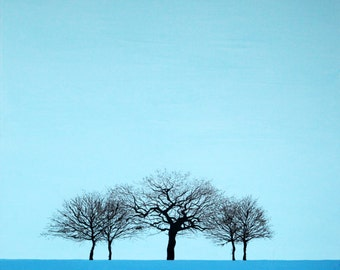 Blue winter tree