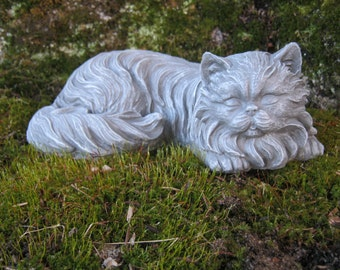 Cat Statue, Concrete Cat Statues, Long Haired Cat Figure, Concrete Statues  Of Cats, Garden Cats, Black Cat, Cat Memorial Marker, Painted Cat