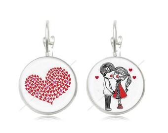 Earrings sleepers lovers heart 18mm cabochons