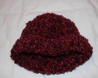 Womens Maroon Hand Knit Winter Hat by Vi.