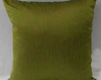 light olive green silk  pillow cover. decorative  throw pillow. shiny art silk luxury pillow  cover 18x18 inches