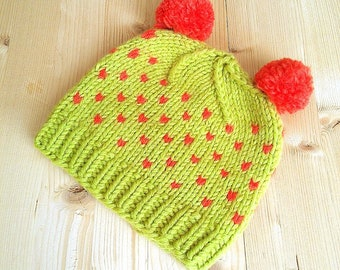 Hand Knitted Kids Hat ,  Pom Pom Knit Hat, Wool Knitted Baby Hat, Doubl Pom Baby Hat,Fair Isle Kids Hat , Children/Kids/Baby/Toddler