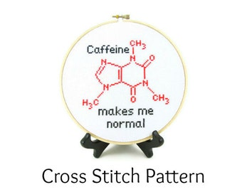 Caffeine Molecule Cross Stitch Pattern