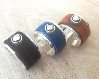 Bague ouverte en cuir/métal HUNTER