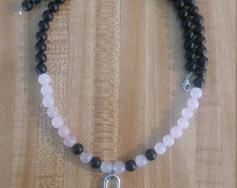 Onyx & Rose Quartz Ankh Necklace