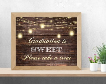 Graduation Candy Bar Sign Rustic Party Decoration