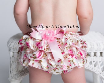 Spring Floral Satin Ruffle Bloomers - Shabby Flower Embellished Baby Girls Size Newborn 3 6 9 12 18 24 Months Spring Summer Photo Prop Pants