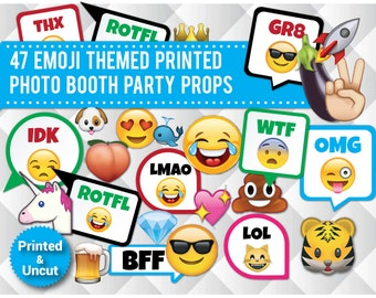47 Emoji Photo Booth Props, PRINTED & UNCUT, Funny Party Props, Sweet 16, Omg, Lol, Kids Party, photo booth signs, speech bubbles