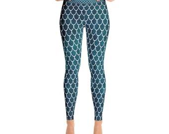 Mermaid Scales, Leggings, Mermaid Leggings, Mermaid, Yoga Legging, Mermaid Pants, Yoga Pants,  XS, S, M, L, XL