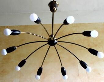 1 (sur 2) araignée noire 10 ampoules Spoutnik lustre pendentif lampe Stilnovo des années 1950 des années 50 au milieu du siècle
