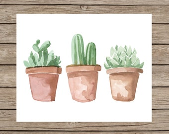 Watercolor Succulent Printable - INSTANT DOWNLOAD, Succulent Wall Art, Cactus Print, Cactus Watercolor, Botanical Print