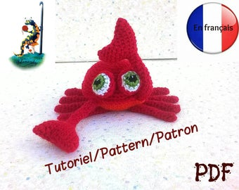 Tutorial / pattern, pdf format in french, amigurumi crab salamandingue version