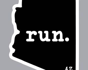 run. - Arizona State Decal (Black)