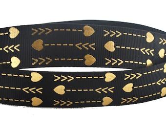 "Gold Arrows Lines Hearts Black Grosgrain Ribbon 7/8 "" WIDE GA4917"