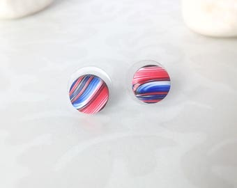 Polymer clay earrings , Stud earrings , Blue Red earrings , Gift for her ,  Modern earrings , Small earrings , Everyday earrings