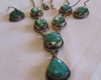 Sterling Silver and Green Faceted Stones Necklace and Earring Set
