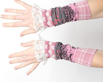 Long patchwork cuffs, Pink ruffled cuffs, Pink and grey jersey cuffs with vintage lace ruffles, MALAM