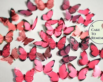 "48 small red edible butterflies, 1/2""- 3/4"" wide. Multi colors available. Sized for cakes or cupcake toppers, cake pops or smash cake topper"