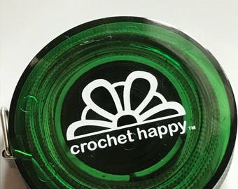 """Crochet Happy Measuring Tape. GREEN A compact light-weight 60"""" measuring tape just for your crochet bag."""