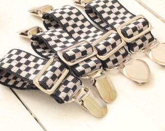 NOIR - Black/White Elastic Clip GARTERS - for THIGH High socks - Checker Board Crocodile Clips - Sock Suspenders - Victorian Goth -Steampunk