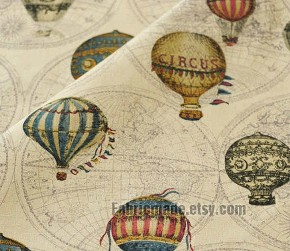 Vintage style japanese cotton linen fabric cloth vintage vintage style japanese cotton linen fabric cloth vintage fire balloon circus balloon world map on beige green purple brown grey 12 yard gumiabroncs Gallery