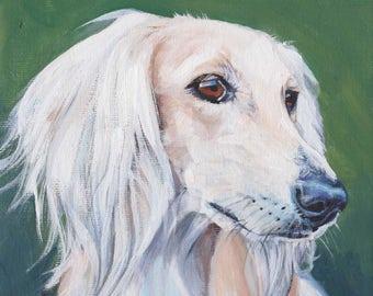 "SALUKI dog art portrait canvas PRINT of LAShepard painting 8x8"" sighthound"