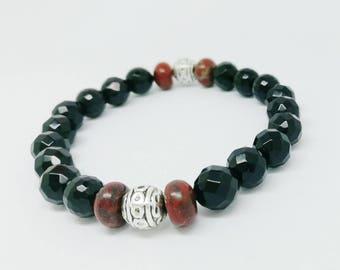 Bracelet Tibetan faceted Onyx, Jasper and Pearl Tibetan silver