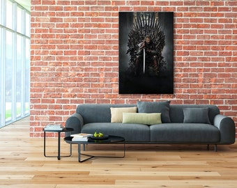 Iron Throne, Eddard Stark, Game of Thrones canvas, Hand of the King print, Ned Stark canvas, GoT wall art, Iron Throne print, GoT wall art