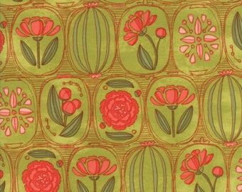 Moda - Blushing Peonies - Floral Cameos Lt Green - Sprig - Fabric by the Yard 48611-15