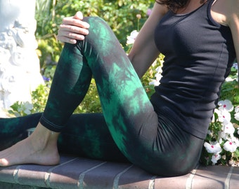 "Twilight Green Tie Dye Yoga Leggings 30"" Inseam"