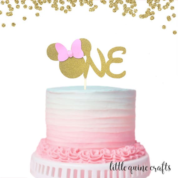 1 pc ONE Minnie Mouse Head Pink Gold Glitter Cake Topper for first