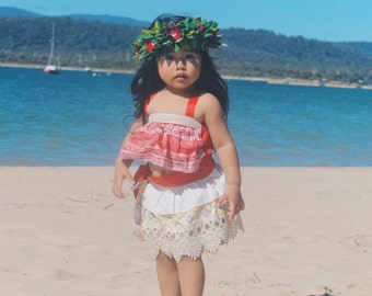 Moana Costume, Red Moana, Hawaiian Princess Costume, Moana Birthday, Moana Dress-up, Girls Moana, Toddler Moana, Infant Moana