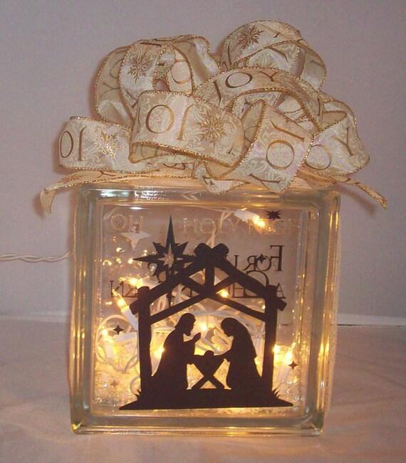 christmas religious glass block lights nativity gift