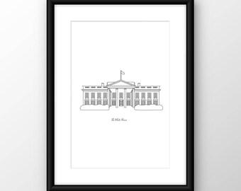Washington DC, The White House Digital Print