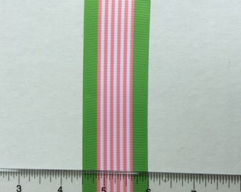 """Green preppy pink candy striped grosgrain ribbons 1.5"""" Bright Bold"""