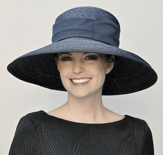 Black Hat, Wide Brim Hat. Audrey Hepburn Hat, Kentucky Derby Hat, Church Hat, Wedding Hat, Funeral Hat, Memorial Service Hat