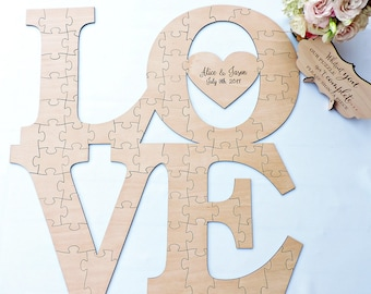 Love Wedding Guest Book Puzzle, Love Wood Puzzle Guestbook, Wedding Guest Book Puzzle, Custom Wedding Guest Book Puzzle, Wood Wedding Puzzle