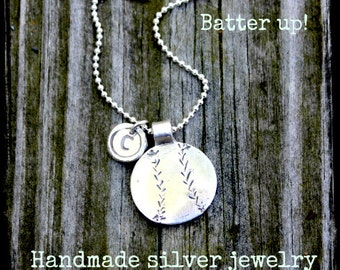 Baseball Necklace, Handcrafted Batter Up Pendant, Initial Charm, Baseball Mom