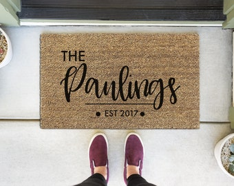 Personalized Doormat - Last Name doormat - Personalized Welcome Mat - Custom Door Mat - Custom Front Door  Mat - Family Door Mat - 001