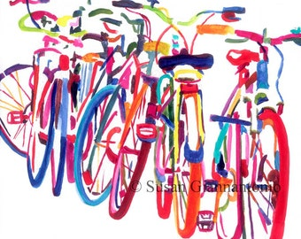 Bike Jam, large bicycle art print by Susan Giannantonio
