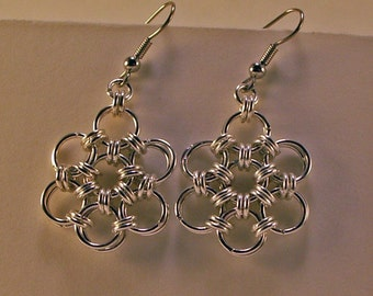 Flower Chainmaille Earrings In Bright Aluminum Woven Rings