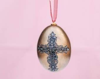 Gold Cross Goose Egg Ornament