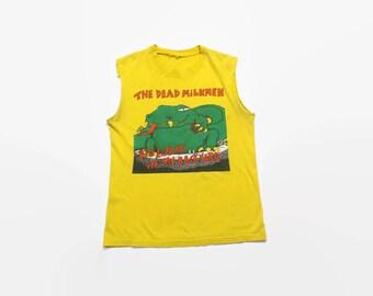 Vintage 80s The Dead Milkmen Tank / 1980s Big Lizard in My Backyard Cut Off T-Shirt M